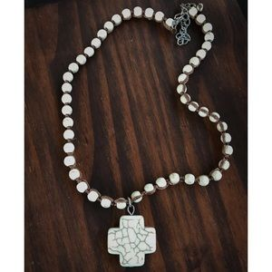 Jewelry - White Turquoise Cross Choker Necklace